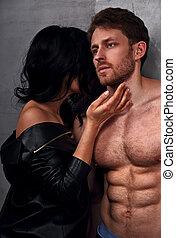 szexi, párosít, portrait., ember, noha, nude törzs, megható, övé, érzéki, gyönyörű, barátnő, nyak, noha, nagyon, emotion.