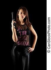 szexi, pisztoly, nő