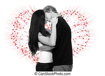 szexi, young párosít, csókolózás