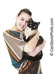 sziámi, tulajdonos, macska