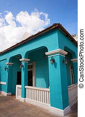 sziget, épület, mayan, cozumel, mexikó