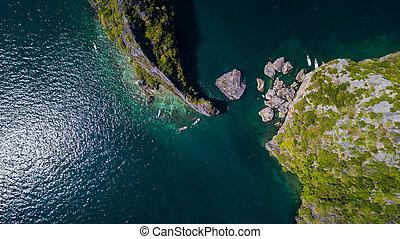 sziget, antenna, táj, kilátás