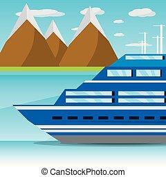 sziget, hajó, behajózó, óceán