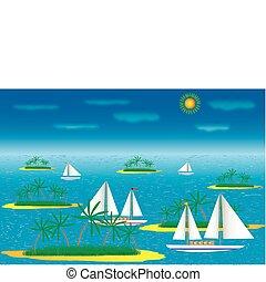 sziget, hajó, tenger