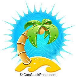 sziget, homok tengerpart, pálma