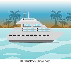 sziget, jacht, behajózó, óceán