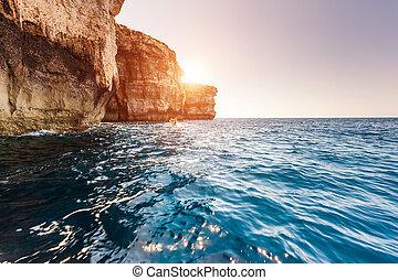sziget, málta, ablak, állás, elhelyezés, gozo, égszínkék,...