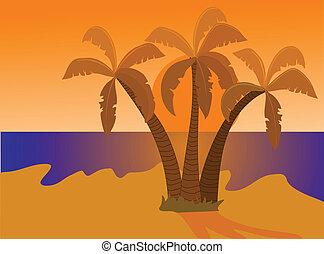 sziget, napnyugta, dezertál, ábra
