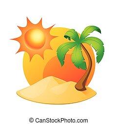 sziget, noha, pálma, és, nap, elszigetelt, white
