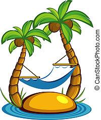 sziget, noha, pálma fa, és, egy, hammoc