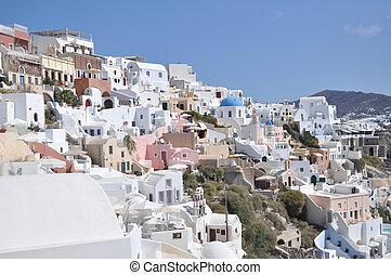 sziget, tengertől távol eső, sea., táj, görög