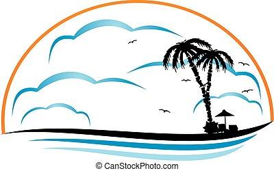 sziget, tropikus, vektor, tervezés, sablon, jel