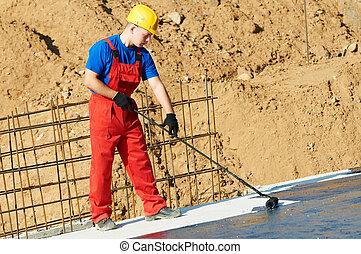 szigetelés, építő, munka, munkás, tető