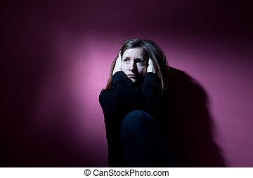 szigorú, szenvedés, nő, fiatal, depresszió