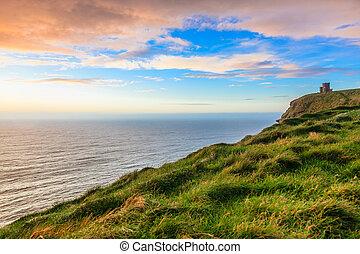 sziklák, moher, -, nulla, clare, napnyugta, briens, írország, bástya, europe., co.