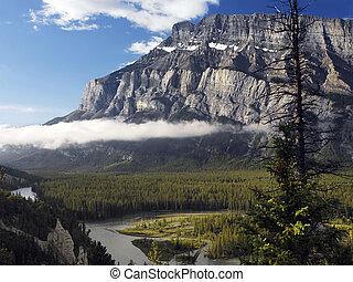 sziklás, mountins, -, banff nemzeti dísztér, -, kanada