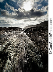 sziklás, partvonal