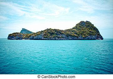 sziklás, sziget, alatt, ang-thong, tengeri dísztér, thaiföld