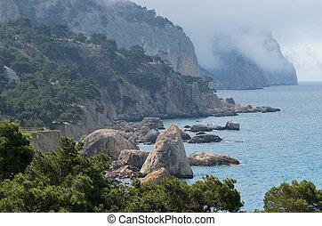 sziklás, tengerpart