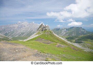 sziklás, völgy, alatt, cantabria