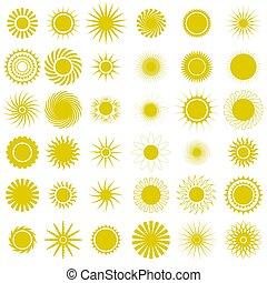 szikrázó, icons., nap, csillag, starburst, sárga csillogó, explosion., pattog, izzó