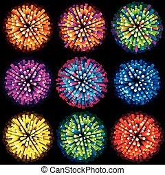 szikrázik, és, fireworks., vektor, gyűjtés