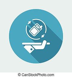 szilárd, dohányzó, szolgáltatás, -, vektor, háló, ikon