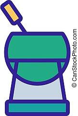 szilárd, ikon, fémtű, fondue, láb, áttekintés, vektor, ábra