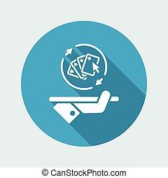 szilárd, piszkavas, szerencsejáték, -, vektor, háló, ikon