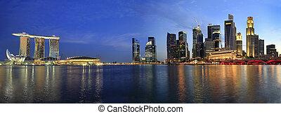 szingapúr, cityscape, alapján, esplanade, panoráma