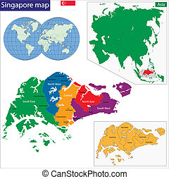 szingapúr, térkép