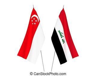 szingapúr, zászlók, irak