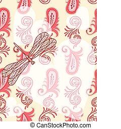 szitakötő, paisley, 10/, masks., seamless, eps, pattern.4, vektor, darabka, piros, áttetsző