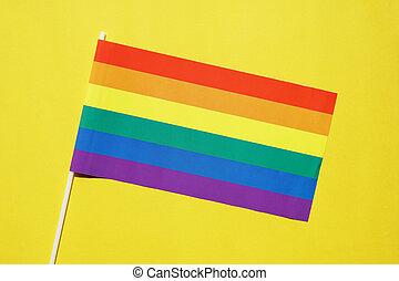 szivárvány, buzi, jelkép, sárga, lgbt, lobogó, háttér, büszkeség, vagy