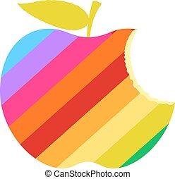 szivárvány, evett, alma