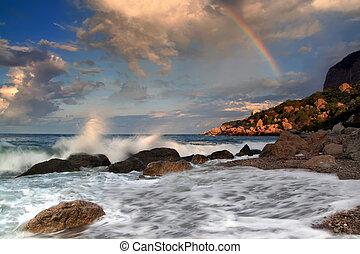 szivárvány, felett, stormy tenger