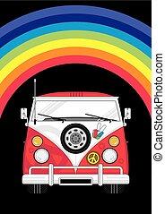 szivárvány, furgon, hippi, &