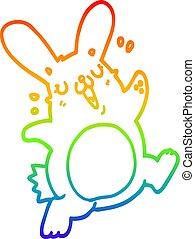 szivárvány, gradiens, rajz, üregi nyúl, egyenes, karikatúra