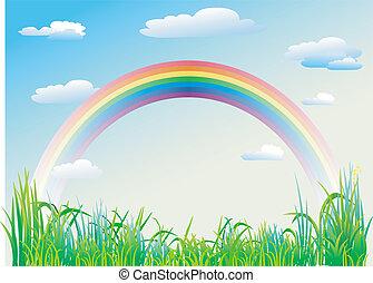 szivárvány, képben látható, egy, háttér, közül, kék ég
