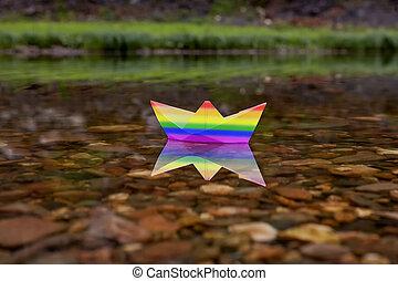 szivárvány, lgbt, büszkeség, csónakázik, flag.