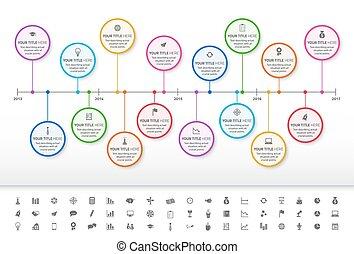 szivárvány, mérföldkövek, pasztell, timeline, modern, állhatatos, included, ikonok, karika, fill.