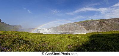 szivárvány, megkettőz, felett, vízesés, izland, gullfoss