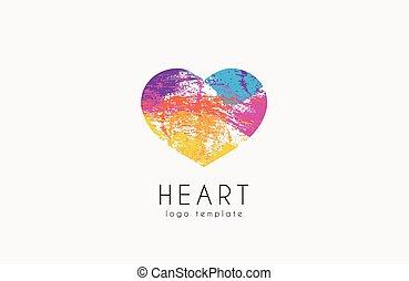 szivárvány, szív, színes, szív, jelkép, szeret, jel