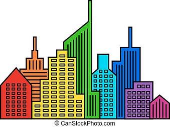 szivárvány, vektor, cityscape, tervezés