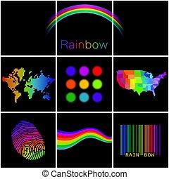 szivárványok, kiválasztás, különböző, színes, kreatív