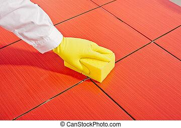 szivacs, kéz, pár kesztyű, kitakarít, piros sárga, csempeborítás