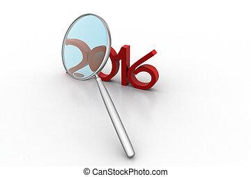 szkło, 2016, powiększający, nowy rok