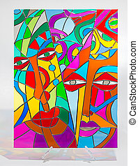szkło, abstrakcyjny, plamiony, -, twarze