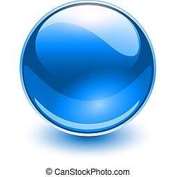 szkło, błękitny, kula