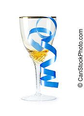 szkło białe wino, odizolowany, chorągiew